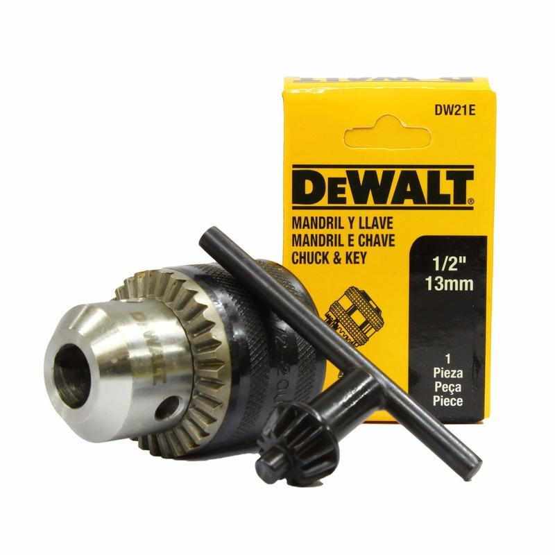 """Mandril e Chave Dewalt 13 L 1/2"""" x 20 F (13 mm)"""