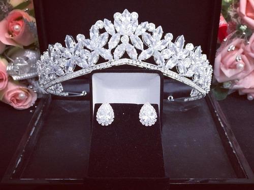 Coroa E Brinco Cabelo Noiva Zirconia Princesa Luxo Linda Veu Original