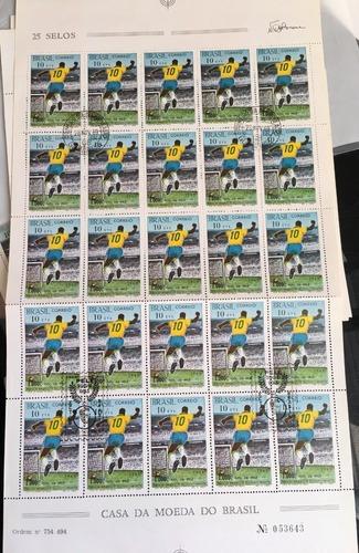 Folha Completa Selos Carimbado Rhm C658 1969 1000 Gol Pele Original