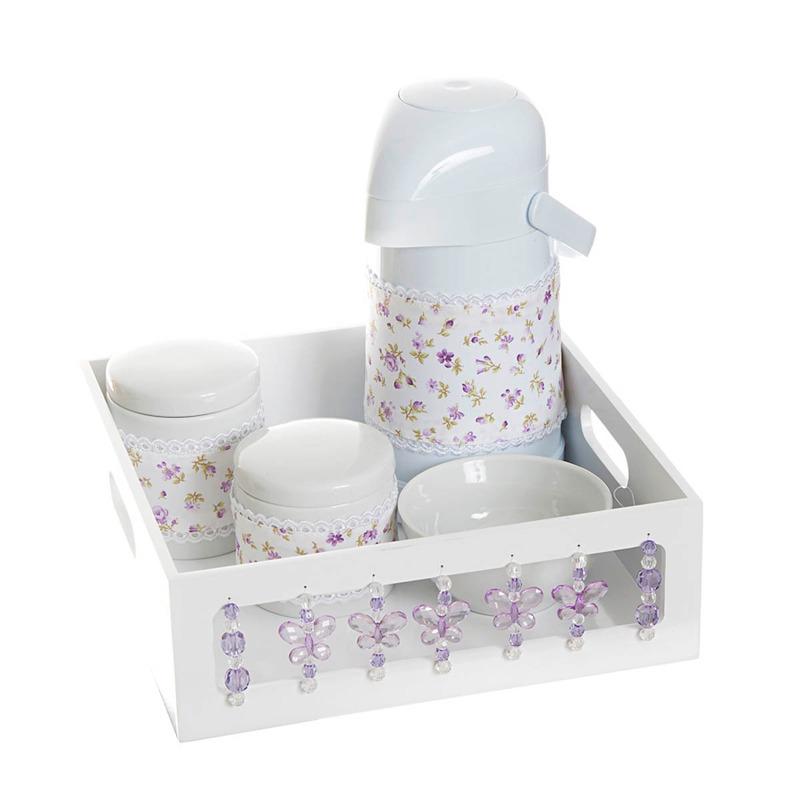 Kit Higiene Com Porcelanas E Capa Borboleta Lilas