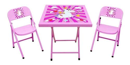 Conjunto De Mesa Infantil Unicórnio Com 2 Cadeiras Açomix Original