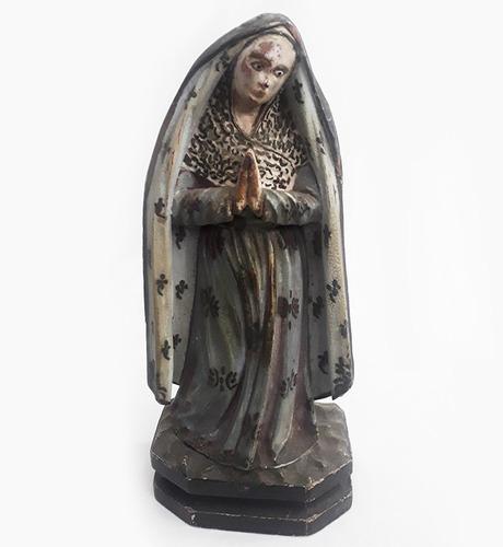 Imagem Antiga Santa Nossa Senhora Em Madeira Com Pintura Original