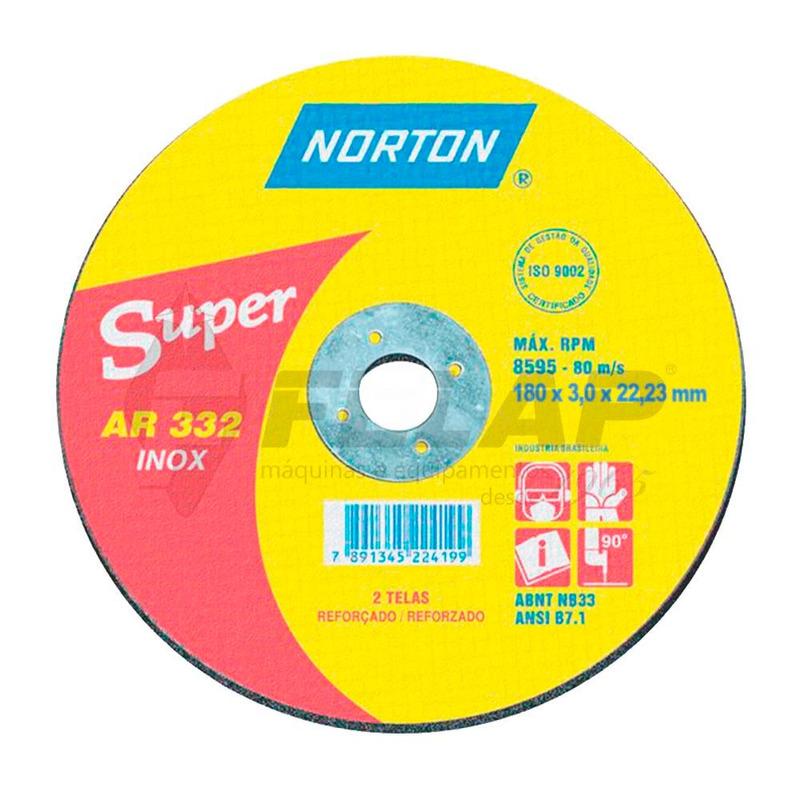 Disco de Corte AR332 Norton 180 x 3,0 x 22,23