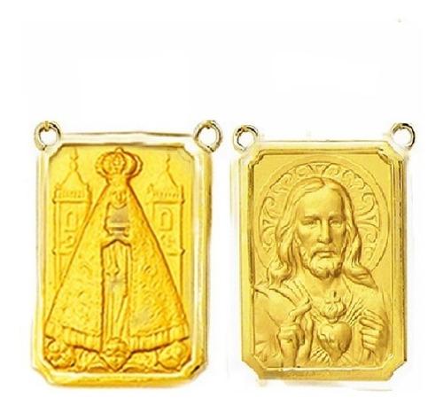 Par Medalha Escapulario 27 Imagens Possiveis Ouro 18k Rt2-o Original