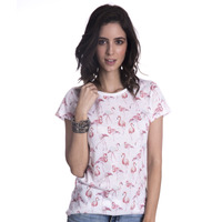 Blusa Long Island Flamingo Branca