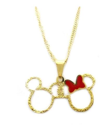 Colar Corrente E Pingente Mini Mickey E Minnie Folheado Ouro Original