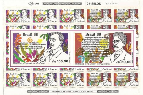 Folha Inteira Selos 1601-1602 Dia Do Livro 1988 2 Unid Nova Original