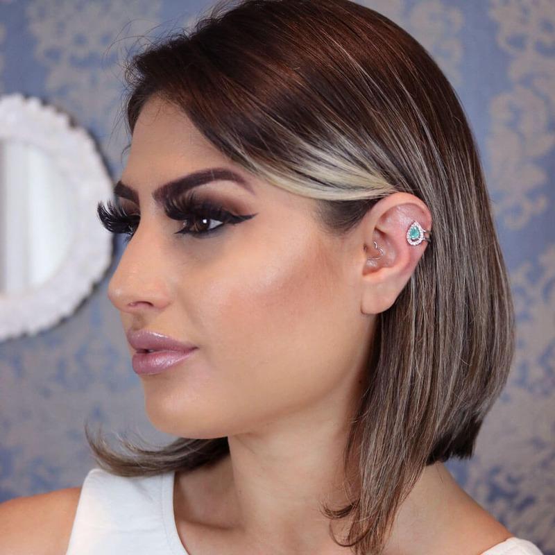 Brinco piercing pressão gota turmalina orelha esquerda  - BR030047