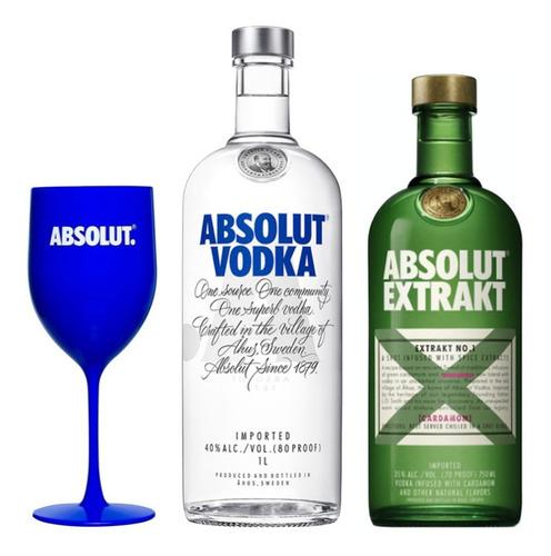 Combo Vodka Absolut + Taça Brinde Original