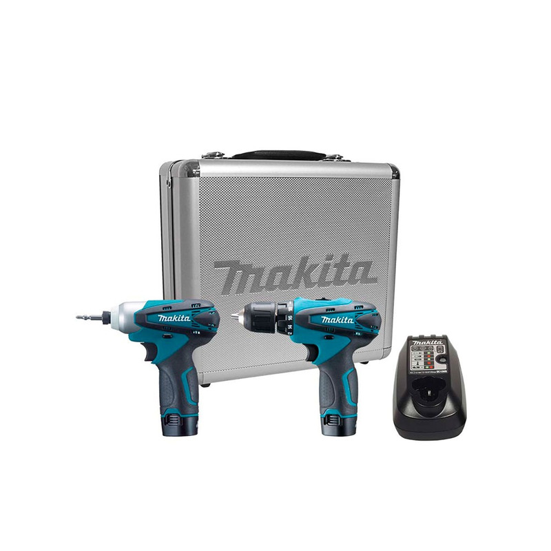 Kit Parafusadeira e Furadeira e Parafusadeira de Impacto à Bateria- LCT204-Makita + Aspirador de Pó à Bateria- CL100DZ - Makita