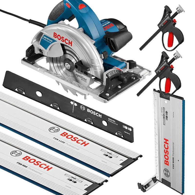 Kit Combo Master Serra Circular GKS 65 GCE + Trilhos e Todos Acessórios - Bosch - 220 Volts
