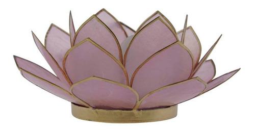 Suporte Flor Lotus P/ Vela Madrepérola Lilás A5xd12 Cm Original