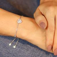 Pulseira prata 925 coração prata regulável - PL040045