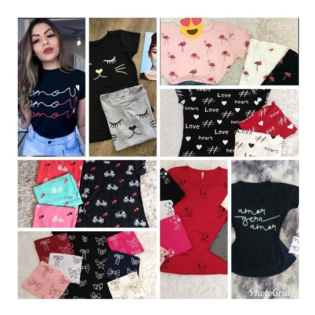 301dd3cb03c47a Kit 5 T-shirts Blusas Feminina Roupas Atacado Revenda em Belo ...