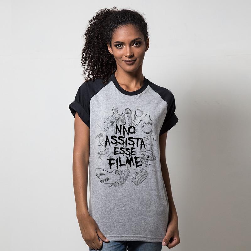 CAMISETA RAGLAN CINZA - NÃO ASSISTA ESSE FILME
