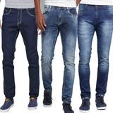 Kit 3 Calças Jeans Sarja Masculina Skinny Premium C/ Lycra