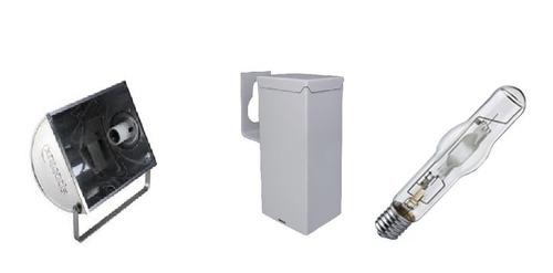 Kit C/2 Refletor Lampada E Reator Hqi Vap Metalica 250w Original
