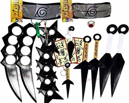 Kit Ninja Kunai Naruto Anel Colar Shuriken Bandana Itachi Kg Original