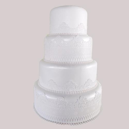 Bolo Fake Casamento 4 Andares Com Rendas Em Biscuit Decoraçã Original