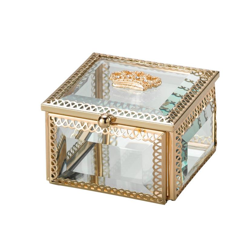 Porta Jóias Quadrado Dourado de Vidro 8Cm - Lyor 4103265