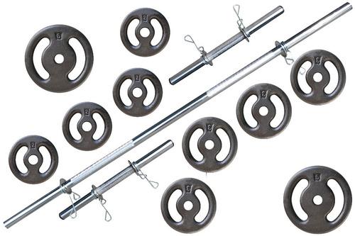 Kit Barras E Anilhas 30kg Halter - Anilhas Musculação