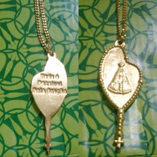 Colar Semi Jóia Dourado Nossa Senhora De Aparecida Feminino