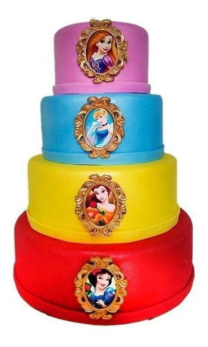 Bolo Fake  Princesas Luxo  Eva Com Biscuit Andares 4 Original