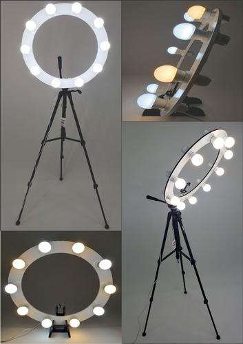 Ring Light 10 Soquetes Mod. E27 + Tripé 1,50m + Kit Selfie Original