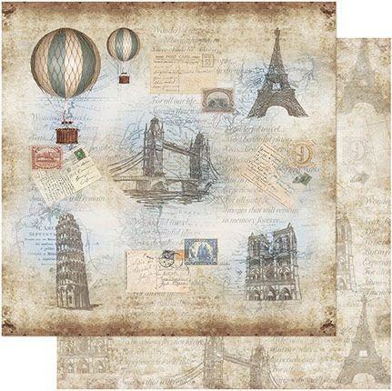 Papel Scrapbook Sd-761 30,5cm Balão Paris Vintage Litoarte Original