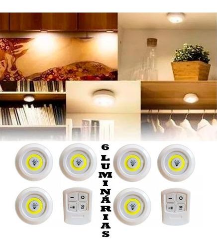 Kit 6 Lampada Luminaria Led Spot Sem Fio + 2 Controle Remoto Original