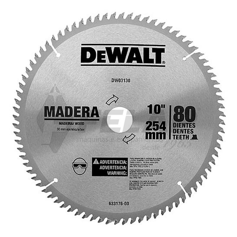 """Lâmina de Serra Dewalt para Madeira Esquadria 10"""" 80D"""