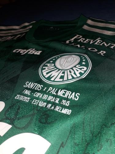 Camisa Palmeiras De Jogo Final Cdb Santos 2015 Autografada Original