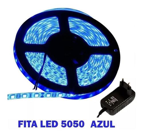 Fita Super Led 5050 Azul 300 Leds 5m + Fonte Grátis Original