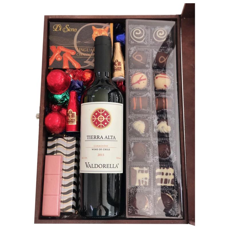 Caixa Madeira com Vinho 750g