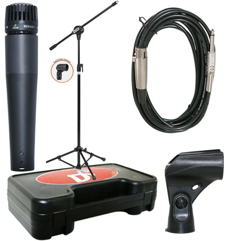 1microfone Arcano Renius-7 Com Cabo Xlr-p10 + 1 Pedestal