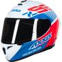 Capacete Axxis Draken Z96 Branco Brilho Com Vermelho E Azul