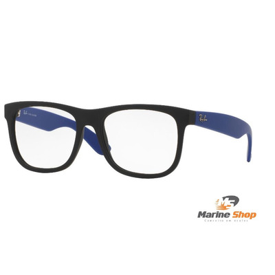 c86a053f1 Óculos Ray-ban Modelo JUSTIN Rb7057 L - P/ Grau Preto com Haste Azul ...