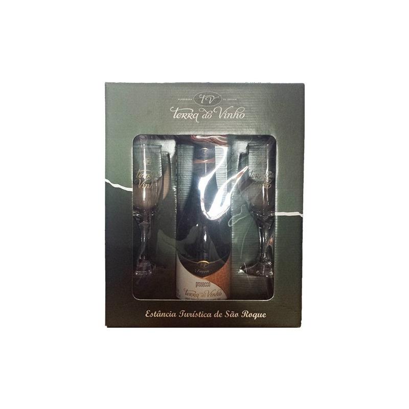 Kit com 2 taças + 1 Vinho Prosecco Frisante - Adega Terra do Vinho