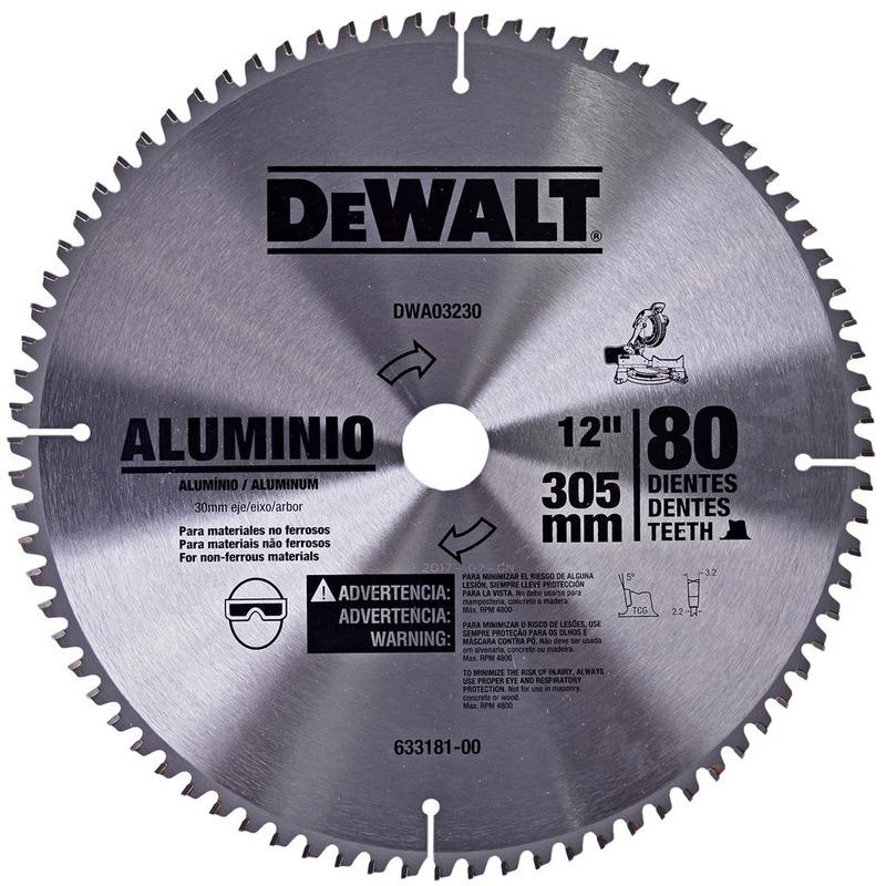 "Lâmina de Widea  Dewalt 12"" 80D para Alumínio"