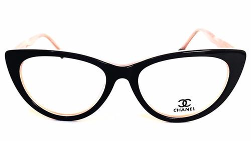 ... comprar Armação Oculos Grau Feminino Ch Acetato Gatinho G Original ... 71213f3ab2