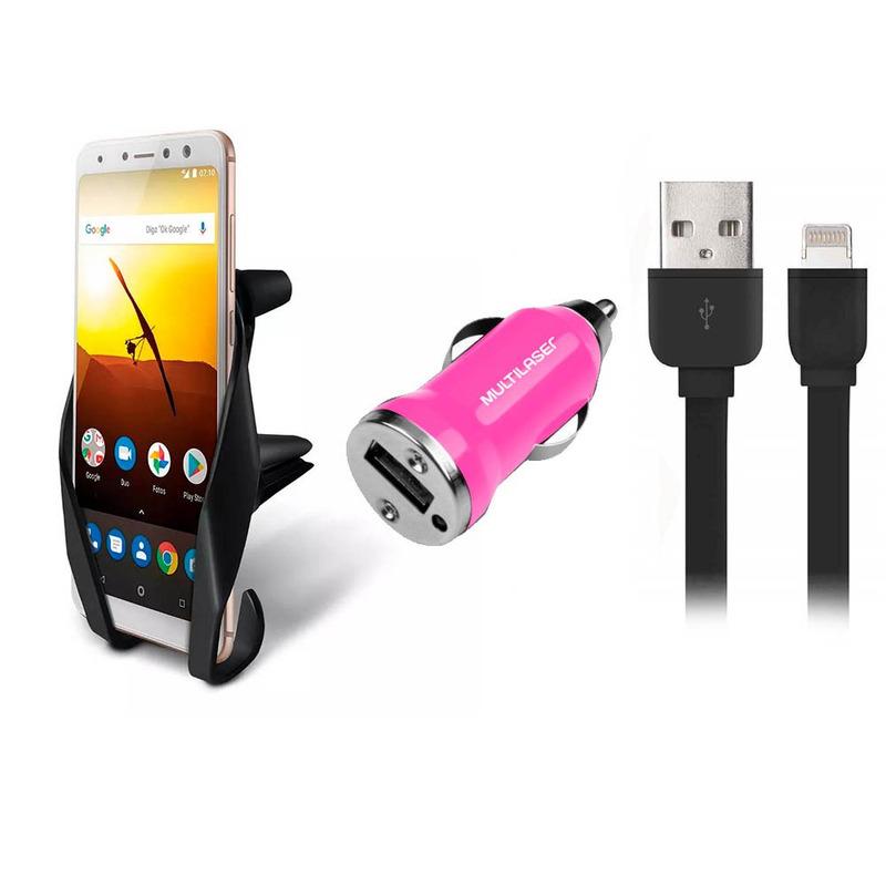 Kit Suporte Veicular Para Smartphone Carregador Automotivo USB e Cabo Para iPhone 8 Pinos Multilaser