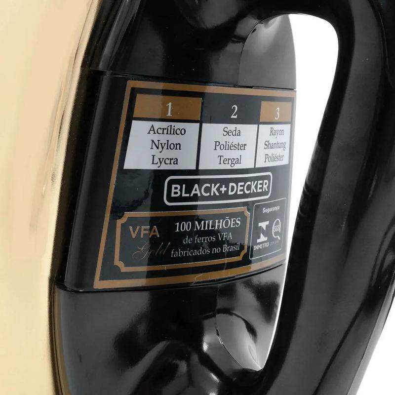 Ferro de Passar Roupas À Seco Dourado Black+Decker VFA-GOLD