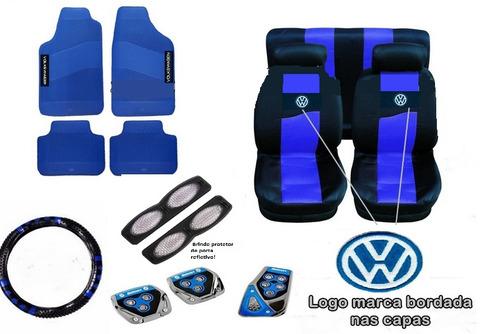 Kit Azul Capa Banco+volante+pedaleira+tapete P/ Gol 2000