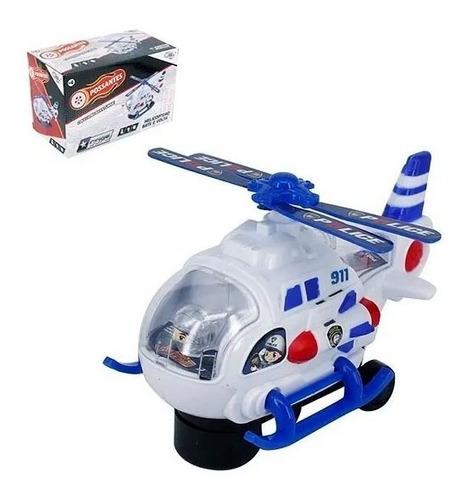 Helicóptero Bate E Volta Policia Com Som Comando E Resgate Original