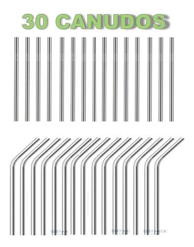30 Canudos Ecológico Metal Aço Inox Reutilizável 21,5 Cm Original
