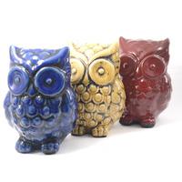 Corujas em cerâmica para decoração - Azul Amarelo e Vermelho