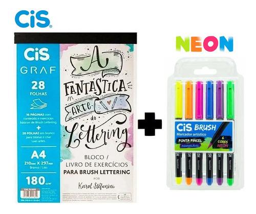 Bloco Livro De Exercícios Para Lettering+brush Cores Neon Original