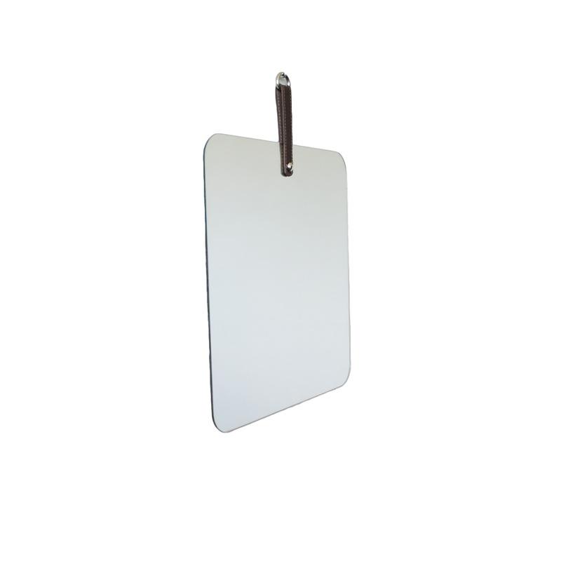 Espelho Geometric Oruy com Alça em Couro Legítimo Quadrado 35cm
