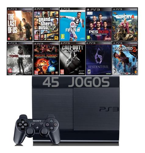 Playstation 3 Ps3 Super Slim + 45 Jogos + Fifa 19 + Gta5 Original