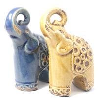 Elefantes em cerâmica para decoração - Azul e Amarelo